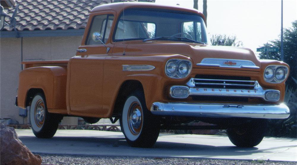 1959 CHEVROLET STEP-SIDE CUSTOM PICKUP - Front 3/4 - 70910