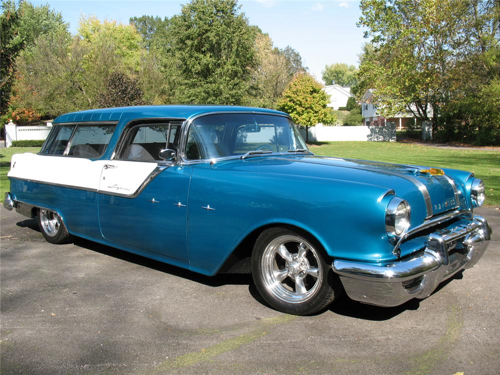1955 PONTIAC SAFARI CUSTOM STATION WAGON - Front 3/4 - 70980