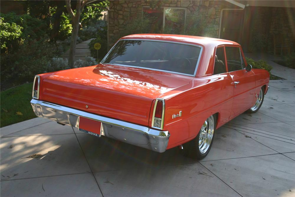 1966 CHEVROLET NOVA CUSTOM 2 DOOR HARDTOP - Rear 3/4 - 71124