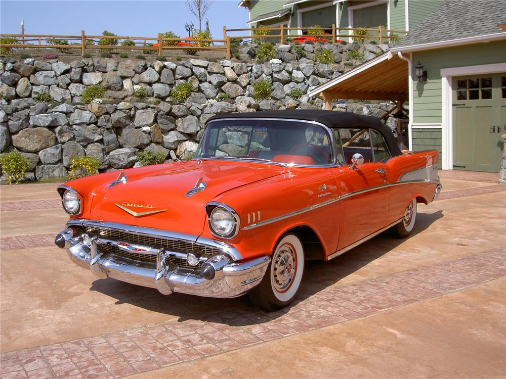 1957 CHEVROLET BEL AIR FI CONVERTIBLE - Front 3/4 - 71275