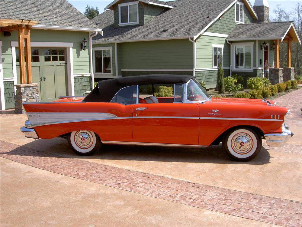 1957 CHEVROLET BEL AIR FI CONVERTIBLE - Side Profile - 71275