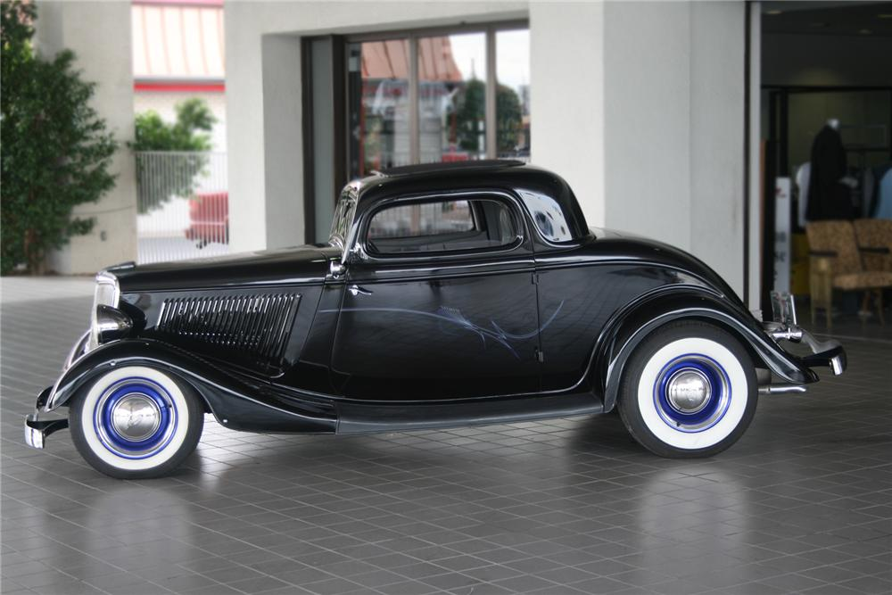 1934 FORD 3 WINDOW CUSTOM COUPE - Side Profile - 71297