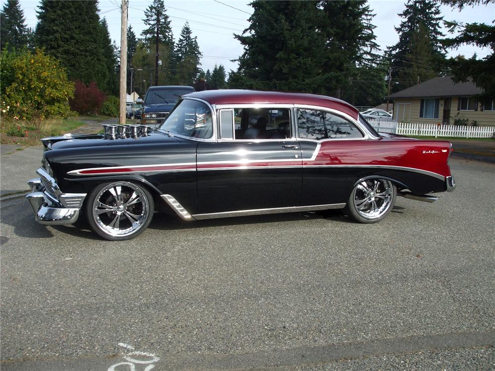 1956 CHEVROLET BEL AIR CUSTOM 2 DOOR SEDAN - Side Profile - 71739