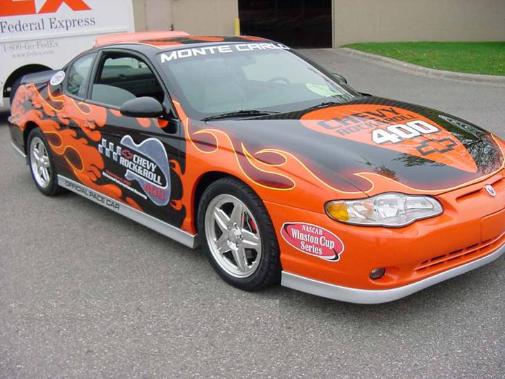 "2003 CHEVROLET MONTE CARLO ""ROCK & ROLL"" PACE CAR - Front 3/4 - 72023"