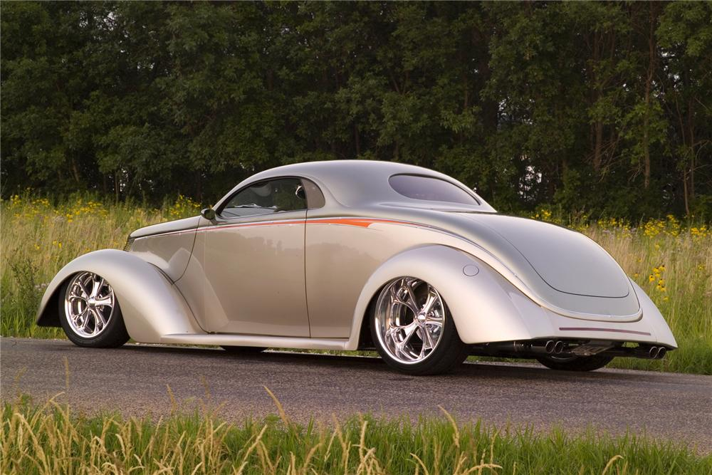 1937 FORD 3 WINDOW CUSTOM COUPE - Rear 3/4 - 75032