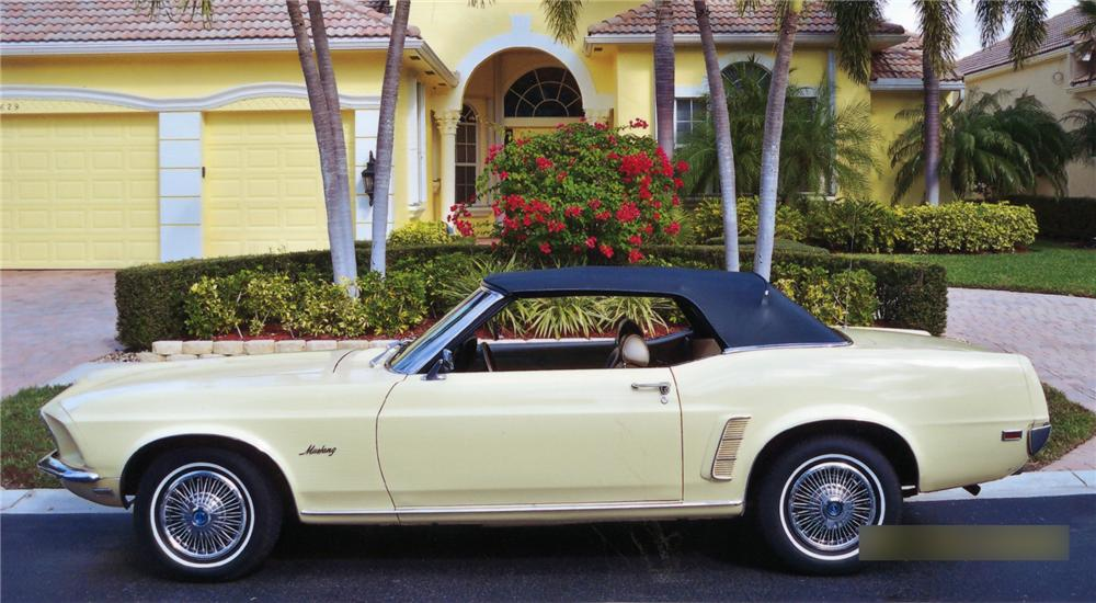 1969 FORD MUSTANG CONVERTIBLE - Side Profile - 75061