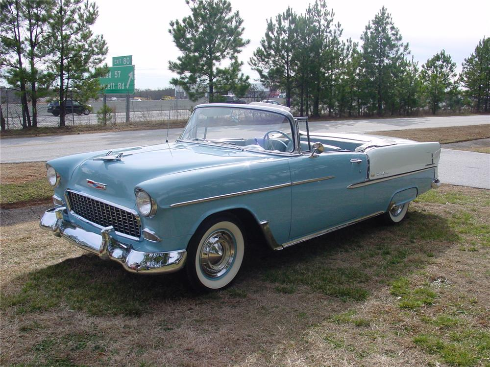 1955 CHEVROLET BEL AIR CONVERTIBLE - Front 3/4 - 75098