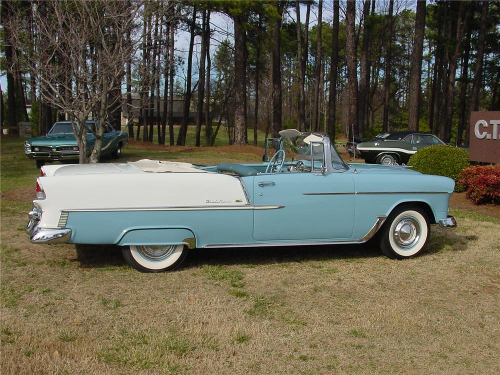 1955 CHEVROLET BEL AIR CONVERTIBLE - Side Profile - 75098