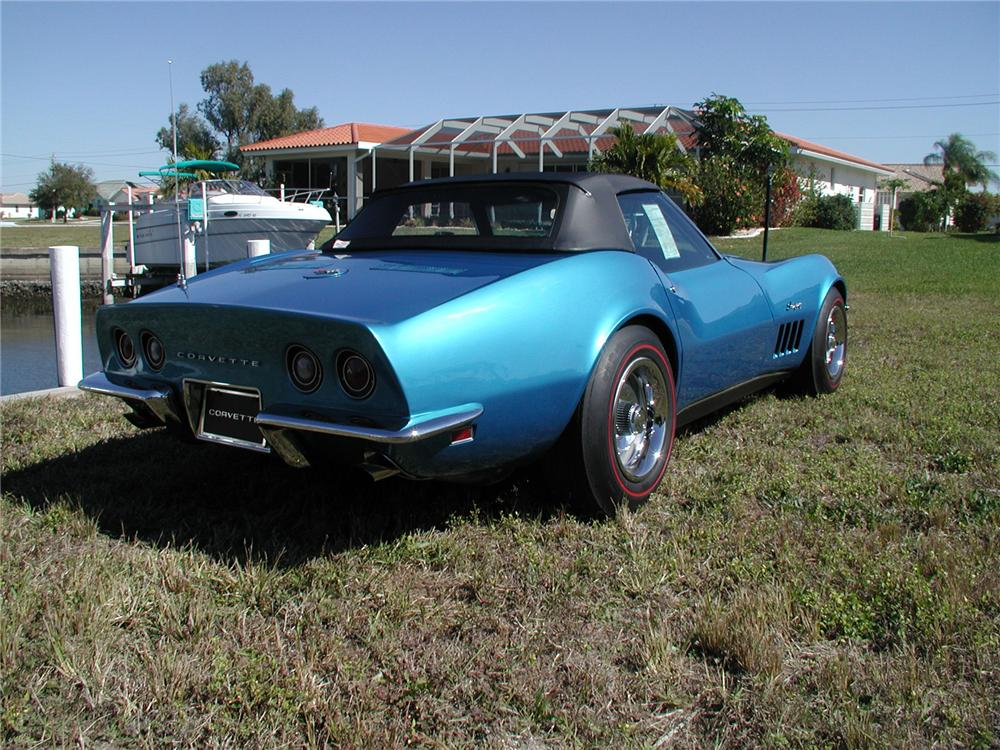 1969 CHEVROLET CORVETTE CONVERTIBLE - Rear 3/4 - 75111