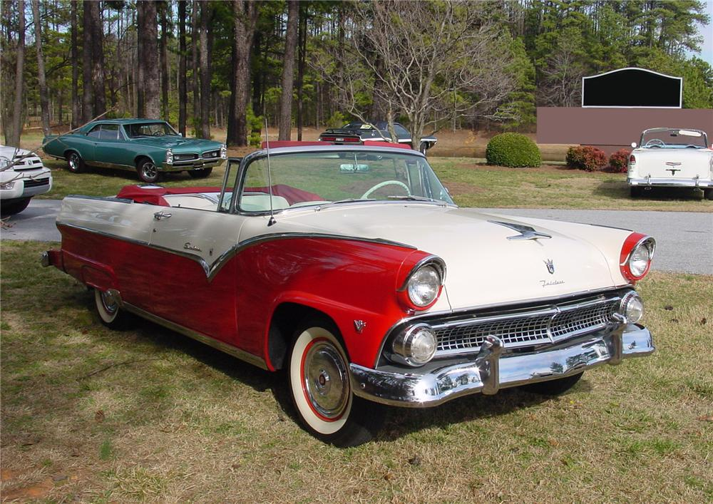 1955 FORD FAIRLANE SUNLINER CONVERTIBLE - Front 3/4 - 75114