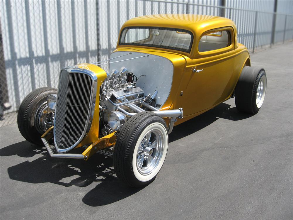 1933 FORD 3 WINDOW CUSTOM COUPE - Front 3/4 - 79065