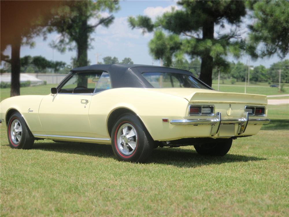 1968 CHEVROLET CAMARO CONVERTIBLE - Rear 3/4 - 79096