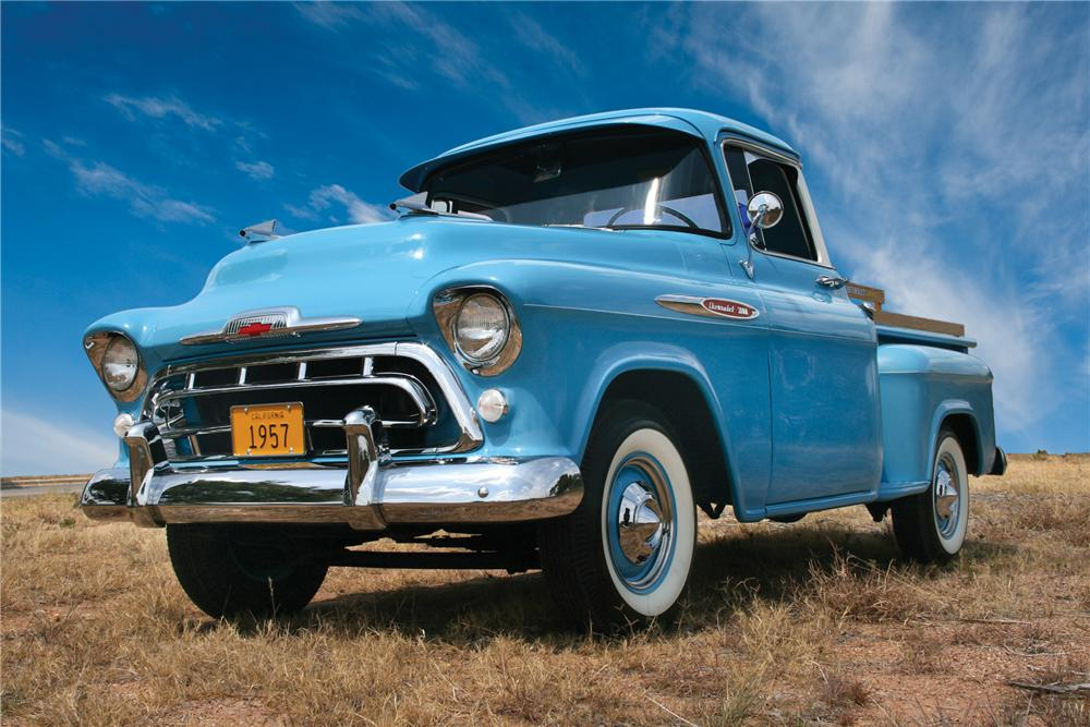 1957 CHEVROLET 3100 STEP-SIDE PICKUP - Front 3/4 - 79214