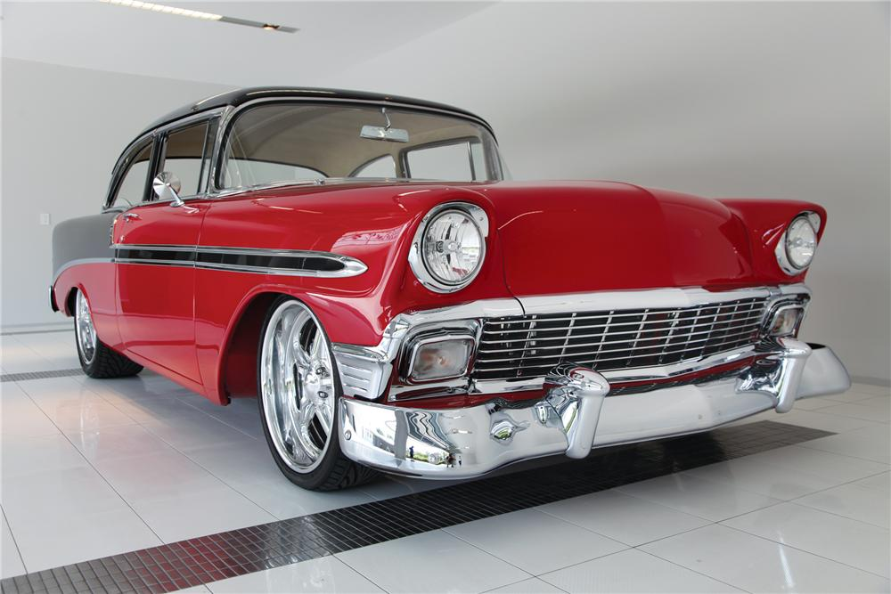 1956 CHEVROLET BEL AIR 2 DOOR POST CUSTOM - Front 3/4 - 79217