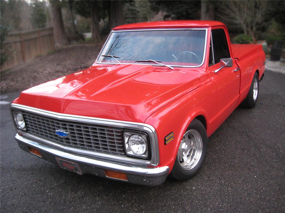 1971 CHEVROLET C-10 CUSTOM SWB PICKUP - Front 3/4 - 79521