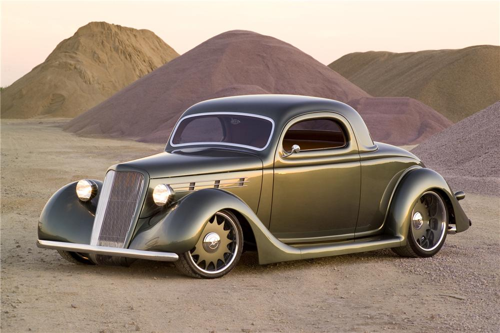 1935 FORD 3 WINDOW CUSTOM COUPE - Front 3/4 - 80912