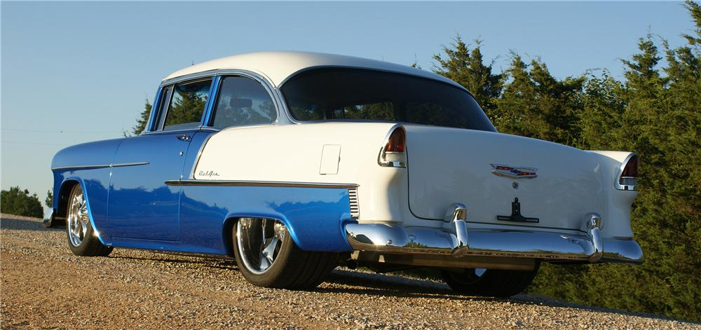 1955 CHEVROLET BEL AIR CUSTOM 2 DOOR SEDAN - Rear 3/4 - 80916
