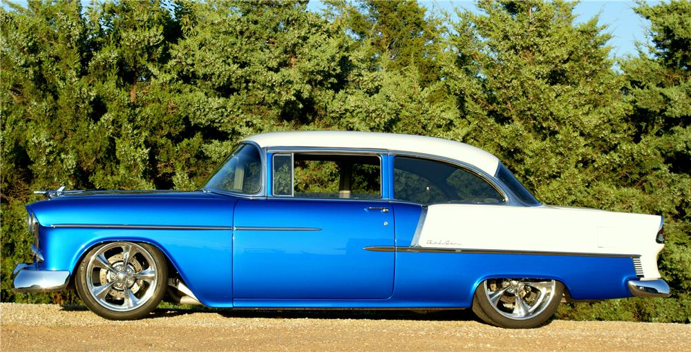 1955 CHEVROLET BEL AIR CUSTOM 2 DOOR SEDAN - Side Profile - 80916