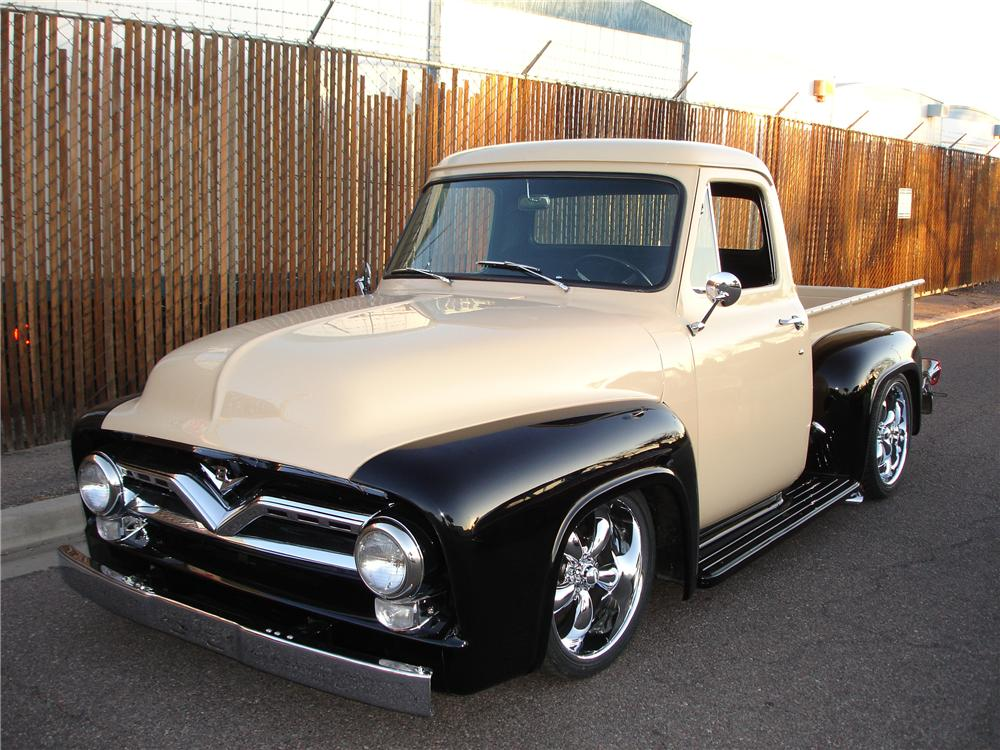 1955 ford f 100 custom pickup 81352. Black Bedroom Furniture Sets. Home Design Ideas