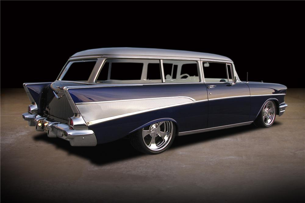 1957 CHEVROLET 210 CUSTOM 2 DOOR WAGON - Rear 3/4 - 81734