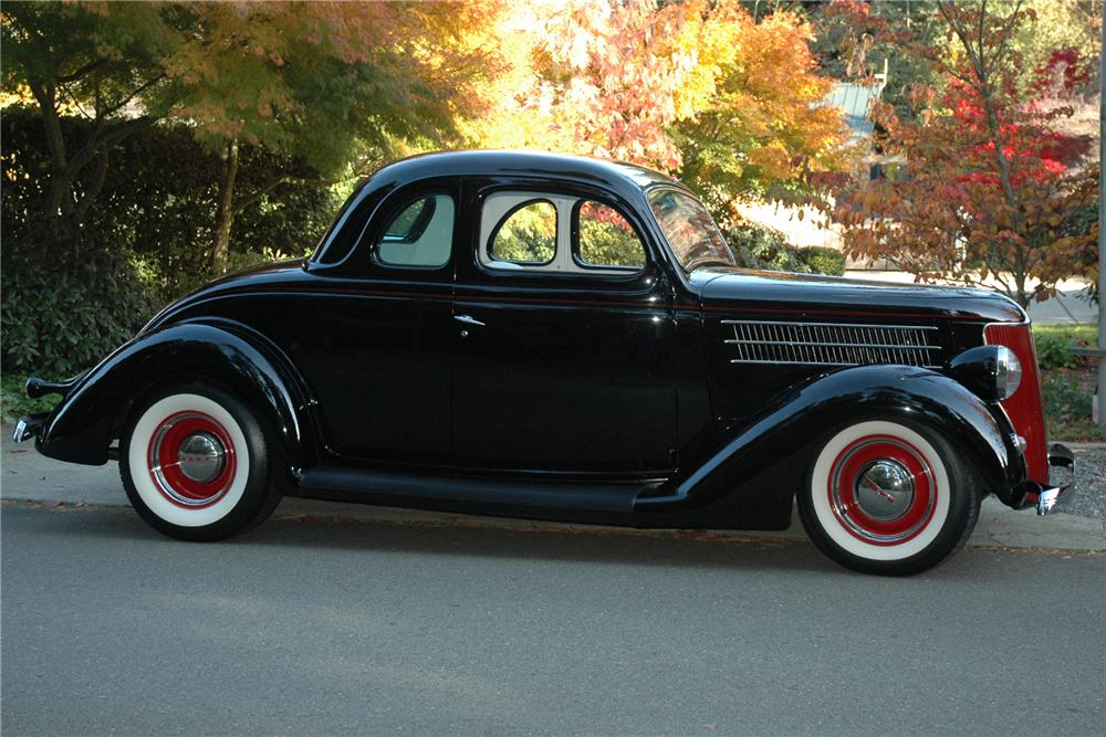 1936 FORD 5 WINDOW CUSTOM COUPE - Side Profile - 81780
