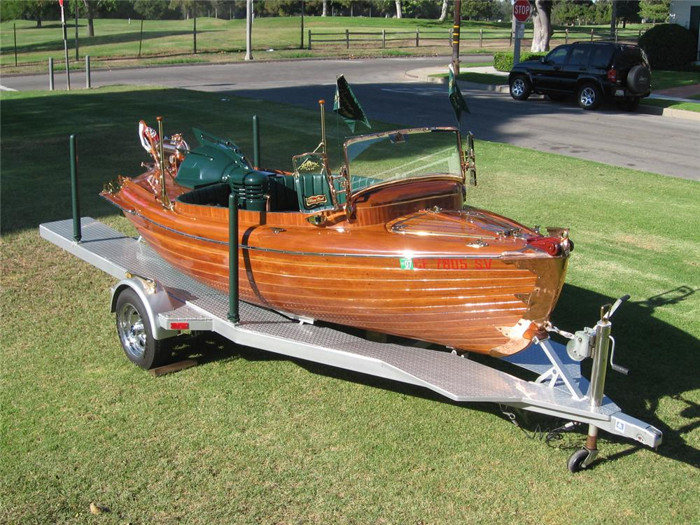 1936 BAVER CRAFT LAUNCH PROTOTYPE RE-CREATION & TRAILER - Front 3/4 - 81790