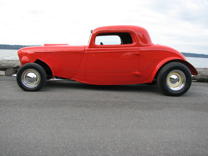 1933 FORD 3 WINDOW CUSTOM COUPE - Side Profile - 81825