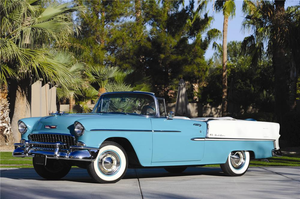 1955 CHEVROLET BEL AIR 2 DOOR CONVERTIBLE - Side Profile - 82012