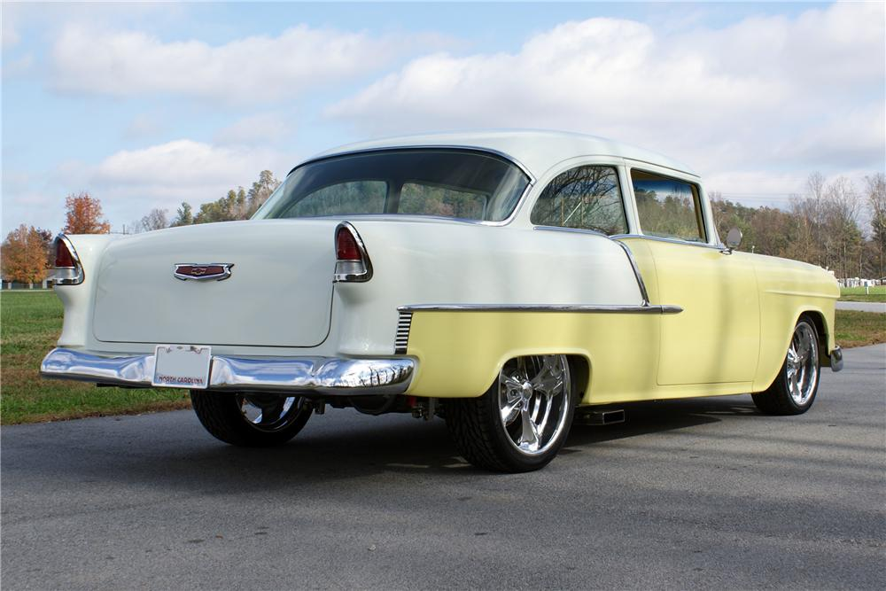 1955 CHEVROLET BEL AIR CUSTOM 2 DOOR POST - Rear 3/4 - 82130