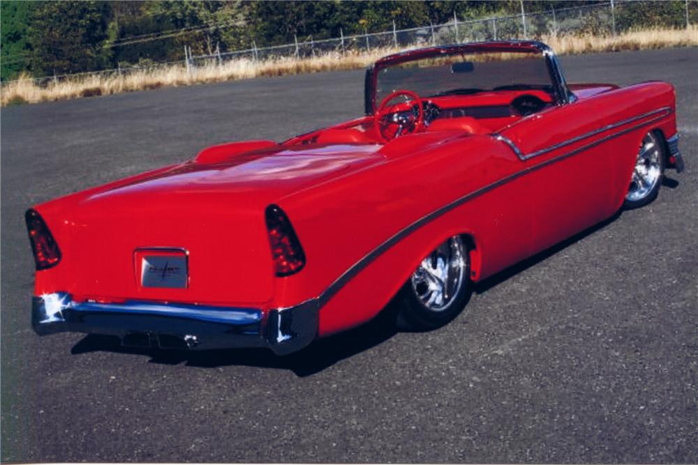 1956 CHEVROLET BEL AIR CUSTOM CONVERTIBLE - Rear 3/4 - 82375