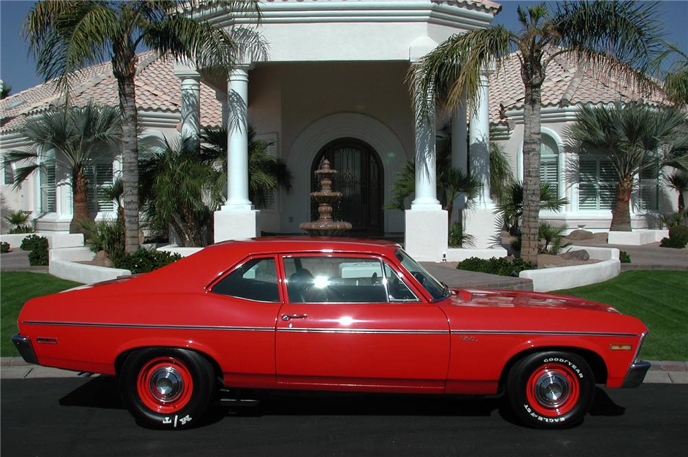1971 CHEVROLET NOVA CUSTOM 2 DOOR COUPE - Side Profile - 82604