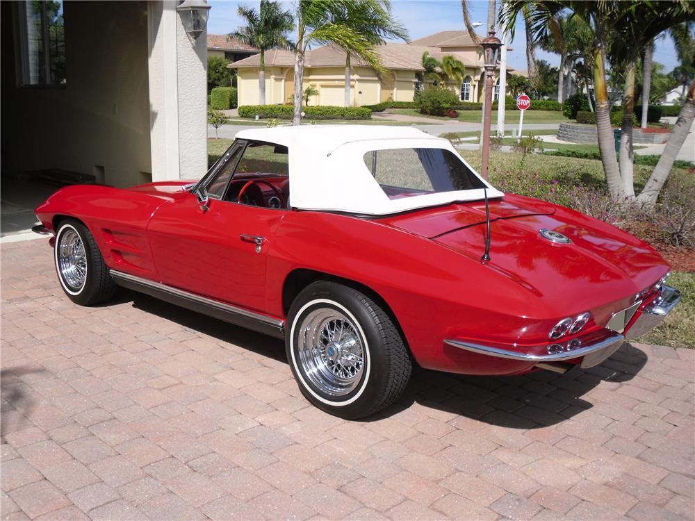1963 CHEVROLET CORVETTE 2 DOOR CONVERTIBLE - Rear 3/4 - 89033