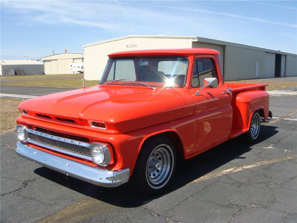 1966 CHEVROLET C-10 STEP-SIDE CUSTOM PICKUP - Front 3/4 - 89231