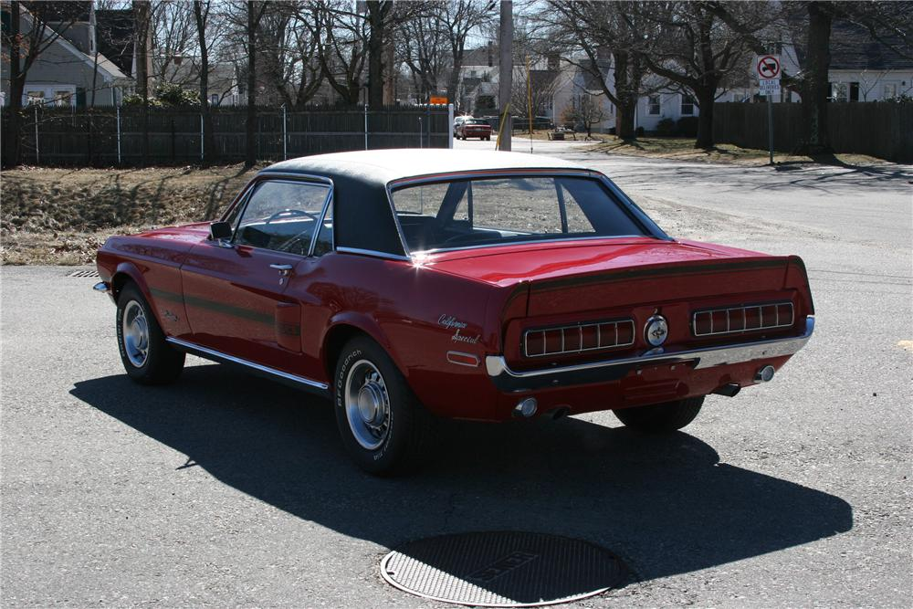 1968 FORD MUSTANG CALIFORNIA SPECIAL 2 DOOR COUPE - Rear 3/4 - 89313