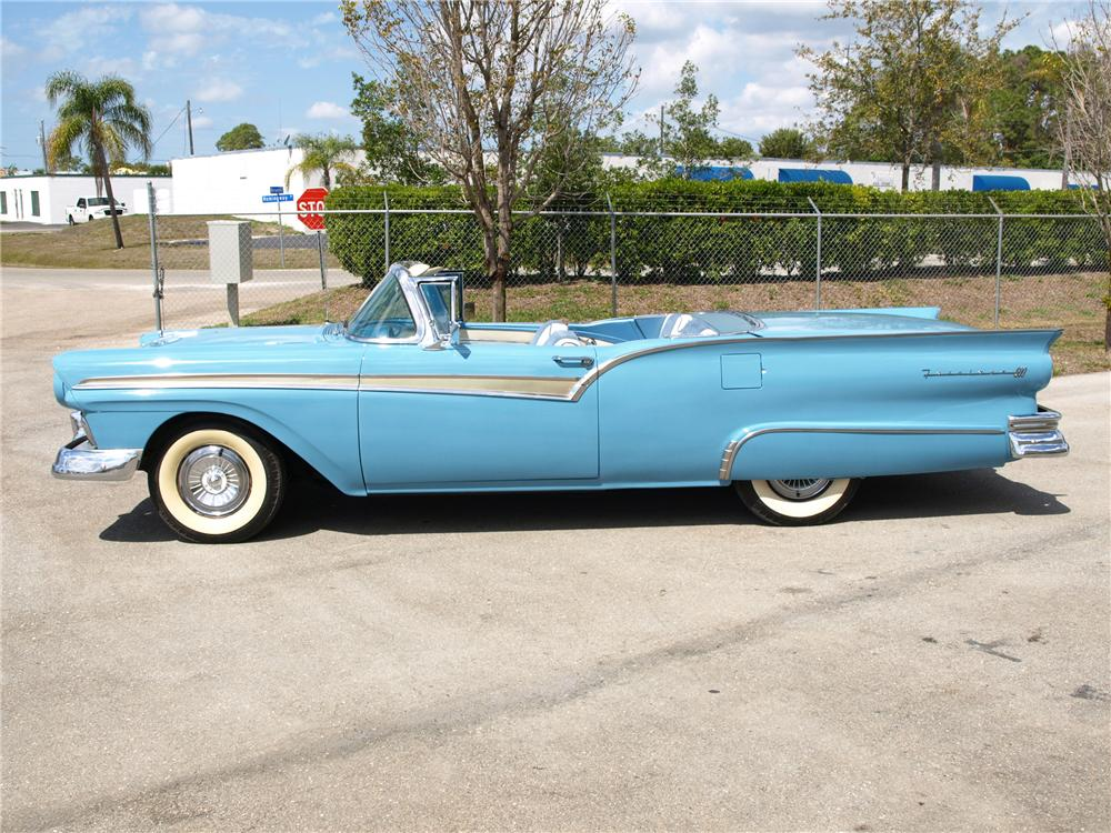 1957 FORD FAIRLANE 500 RETRACTABLE CONVERTIBLE - Side Profile - 89319