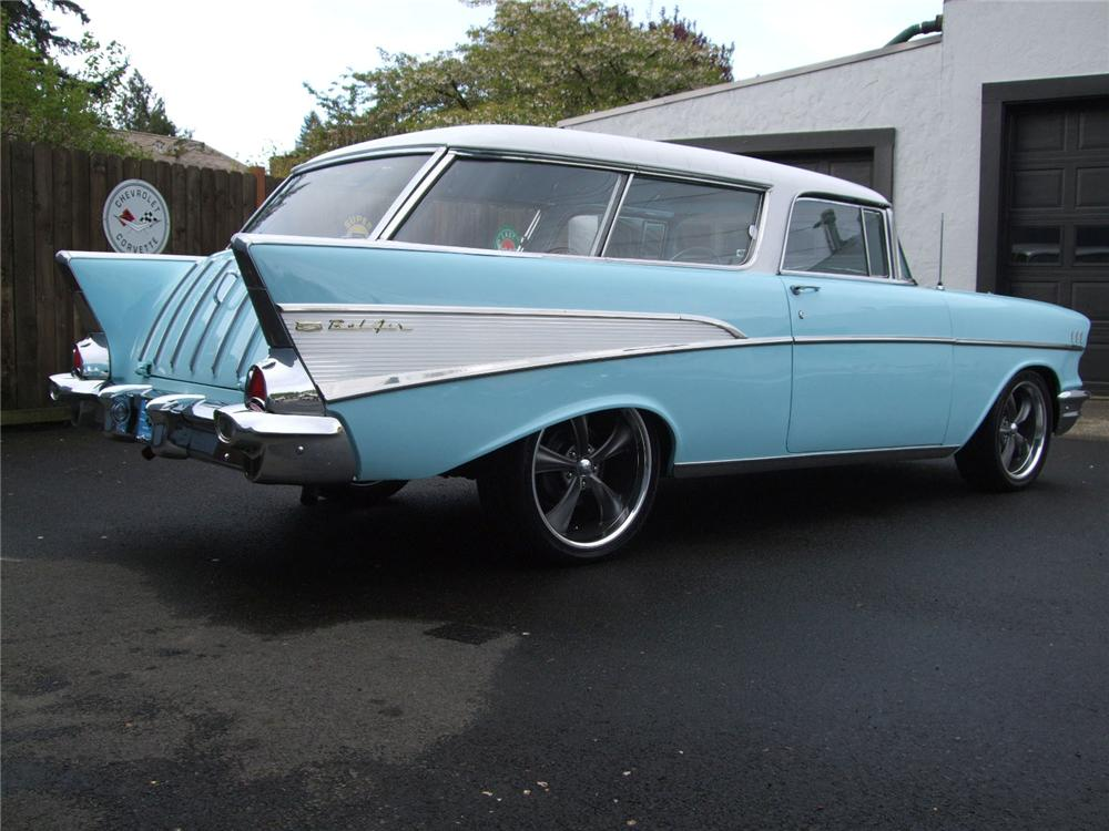 1957 CHEVROLET NOMAD CUSTOM STATION WAGON - Rear 3/4 - 91024