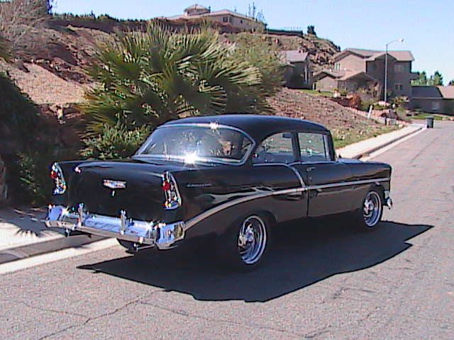 1956 CHEVROLET 210 CUSTOM 2 DOOR SEDAN - Rear 3/4 - 91124