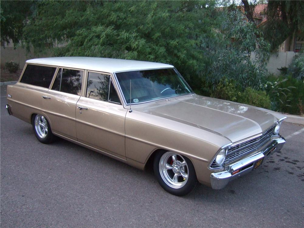 1967 CHEVROLET NOVA CUSTOM 4 DOOR WAGON - Front 3/4 - 91223