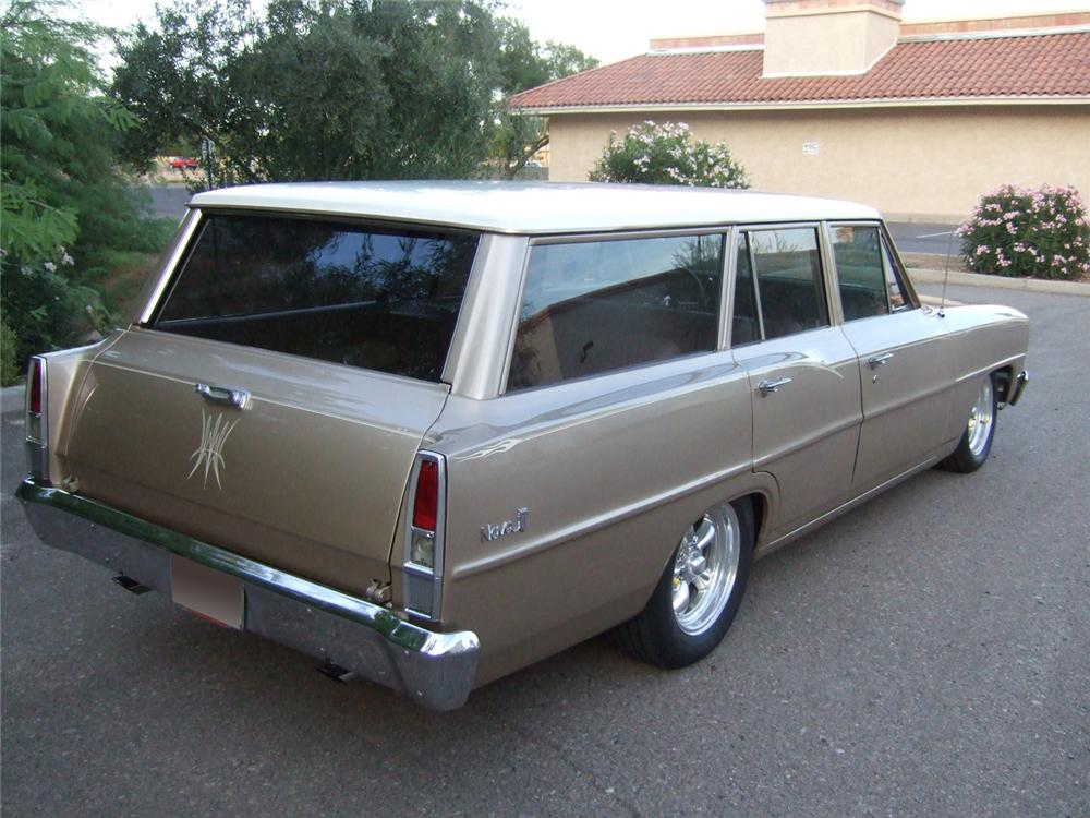 1967 CHEVROLET NOVA CUSTOM 4 DOOR WAGON - Rear 3/4 - 91223