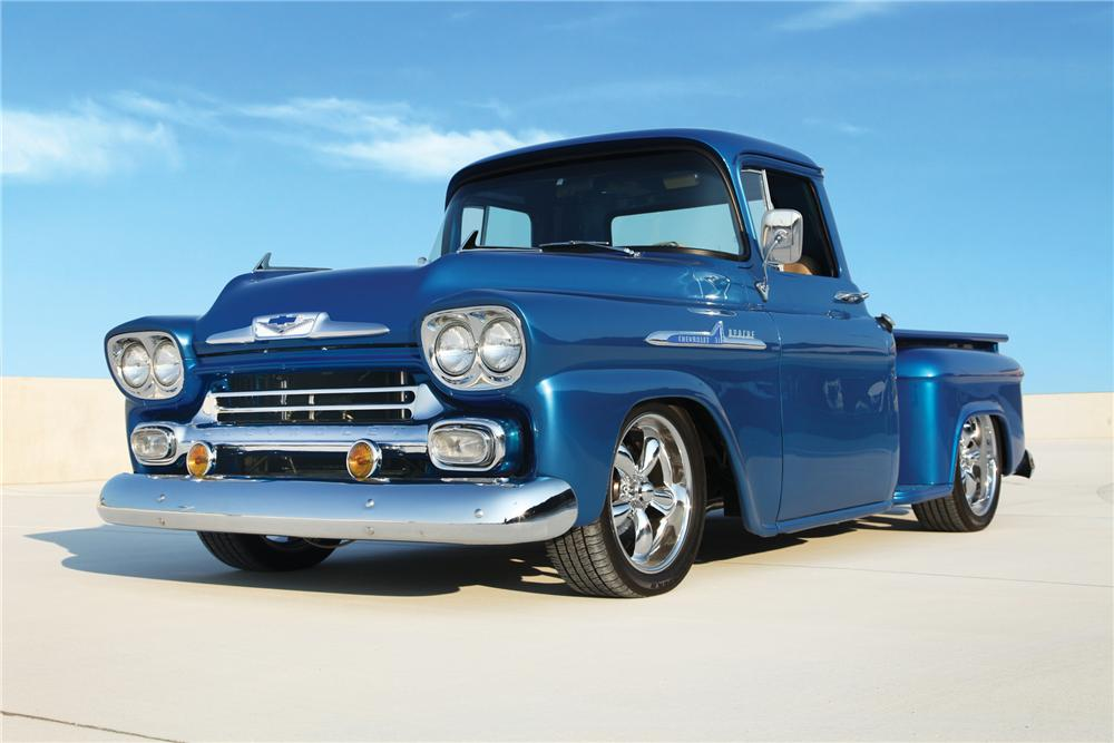 1958 CHEVROLET APACHE STEP-SIDE CUSTOM PICKUP - Front 3/4 - 91245