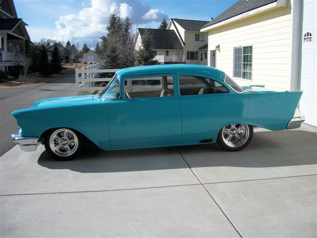 1957 CHEVROLET 150 2 DOOR POST STREET ROD - Side Profile - 91353