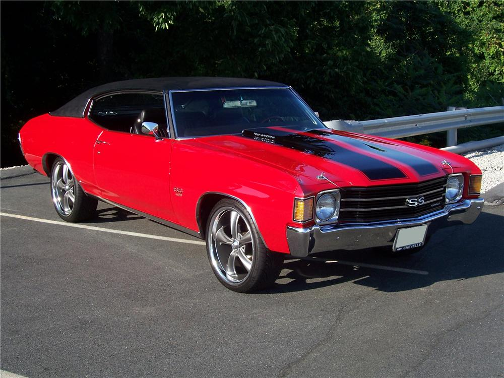 1972 CHEVROLET CHEVELLE CUSTOM 2 DOOR COUPE - Side Profile - 93260