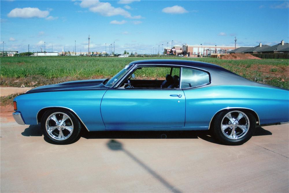 1972 CHEVROLET CHEVELLE CUSTOM 2 DOOR COUPE - Side Profile - 93436