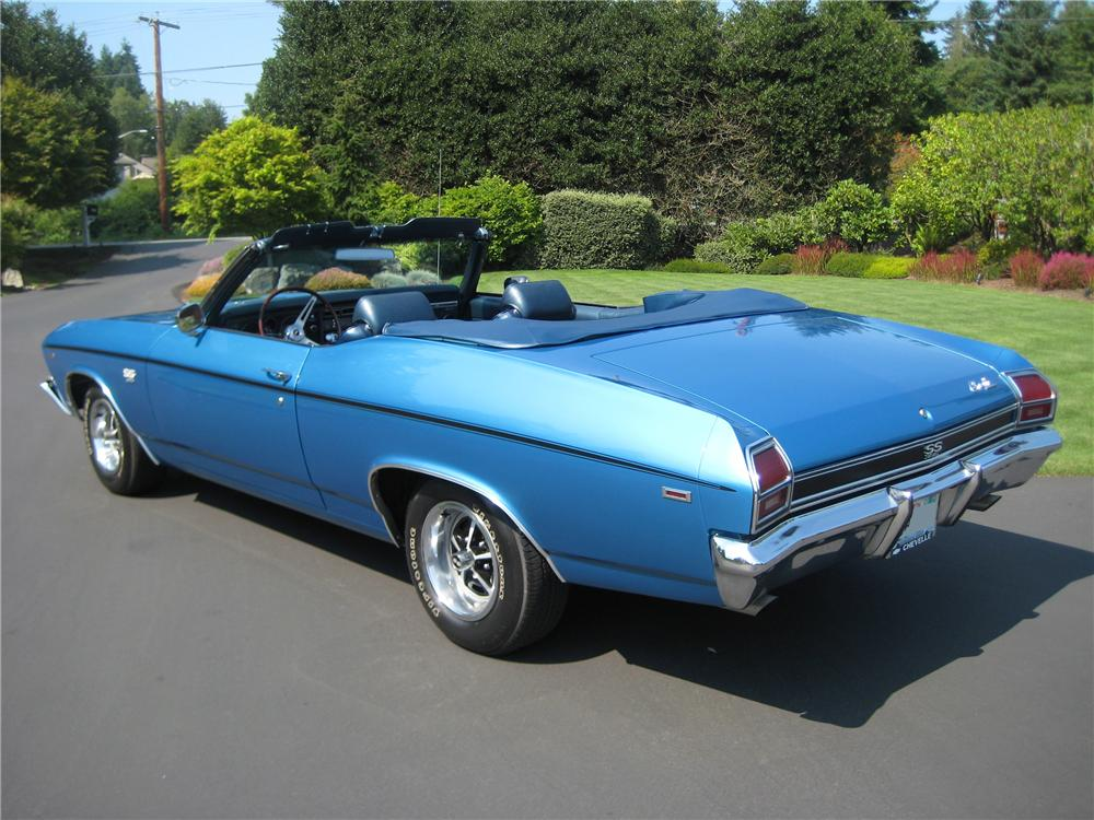 1969 CHEVROLET CHEVELLE 2 DOOR CONVERTIBLE - Rear 3/4 - 93586