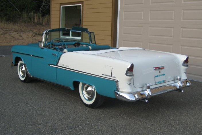 1955 CHEVROLET BEL AIR CONVERTIBLE - Rear 3/4 - 96122