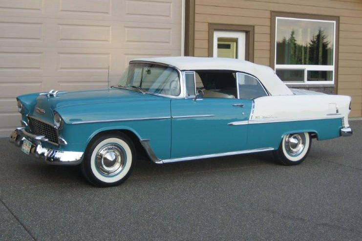 1955 CHEVROLET BEL AIR CONVERTIBLE - Side Profile - 96122