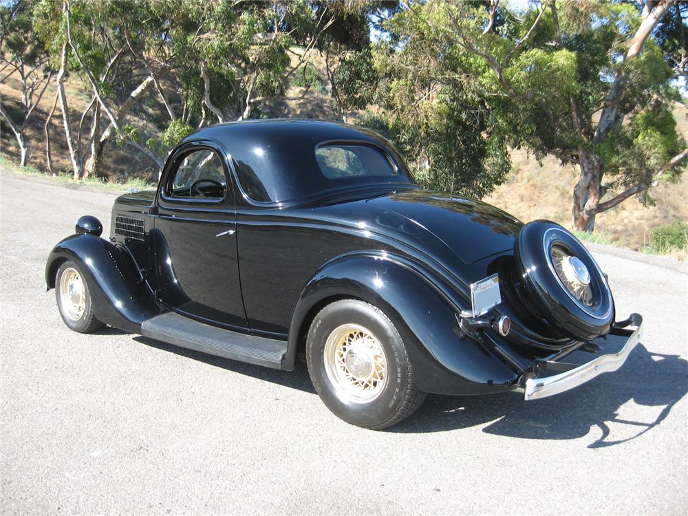 1935 FORD 3 WINDOW CUSTOM COUPE - Rear 3/4 - 96145
