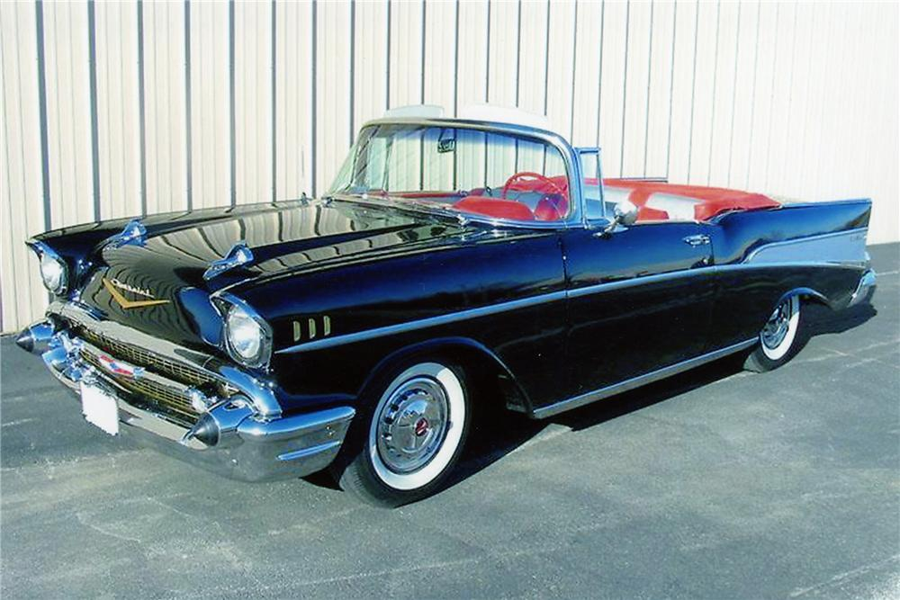 1957 CHEVROLET BEL AIR CONVERTIBLE - Front 3/4 - 96177