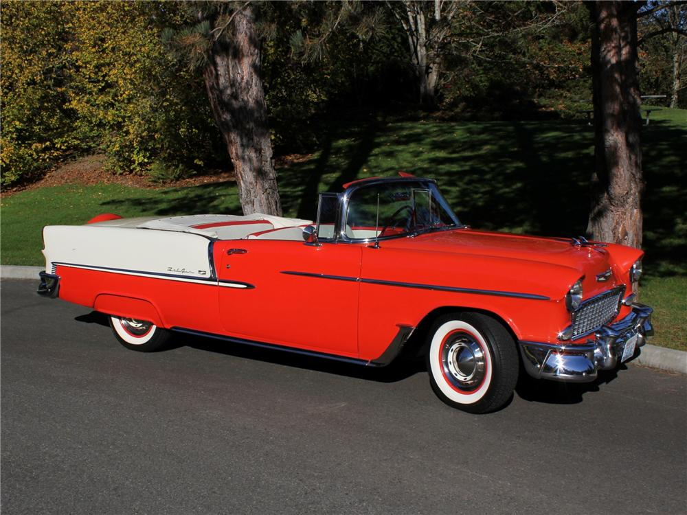 1955 CHEVROLET BEL AIR CONVERTIBLE - Front 3/4 - 96264