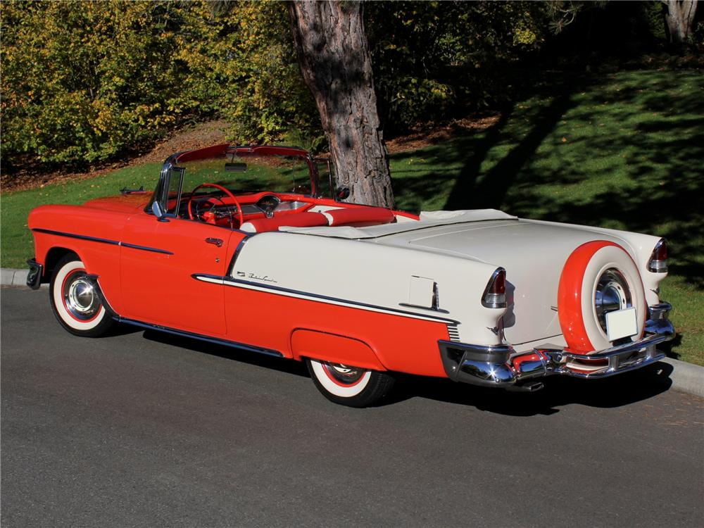 1955 CHEVROLET BEL AIR CONVERTIBLE - Rear 3/4 - 96264